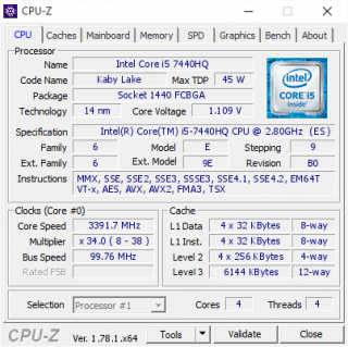 Intel Core i5-7440hq QLM6 (SR32R) BGA1440