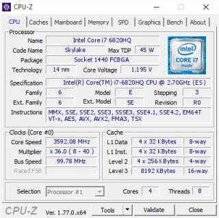 Intel Core i7-6820hq QJMJ (SR2FU) BGA1440